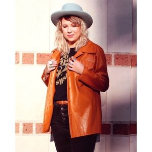 70's tan vegan leather jacket